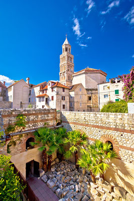split historic architecture of diocletian s palace unesco world heritage site vertical view croatia