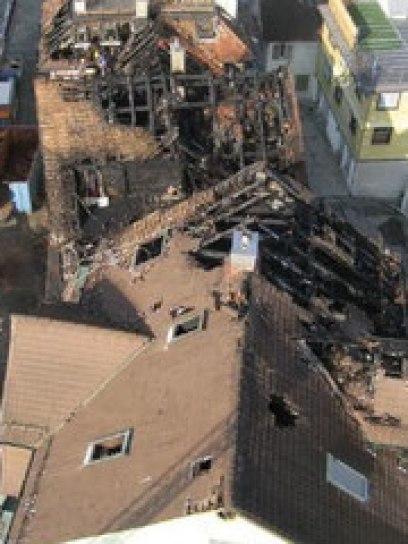 Brandobjekt Gossauerstrasse von oben