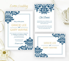 Blue Wedding Invitations Lemonwedding
