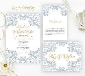 Elegant Lace Invitation Muted Blush And White