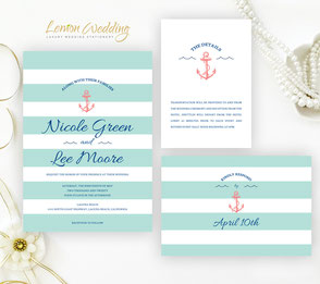Nautical Wedding Invitations Lemonwedding