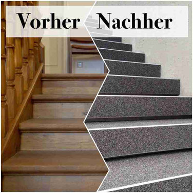 Holztreppe renovieren mit Steinteppich - Fugenloser Boden Steinteppich