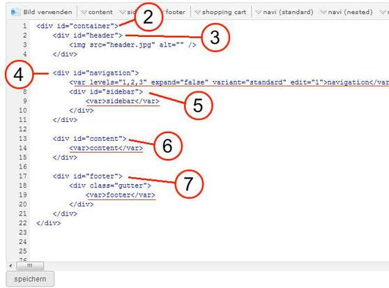 der html code kann wie folgt im bereich layout eigenes layout html hinterlegt und abgespeichert werden