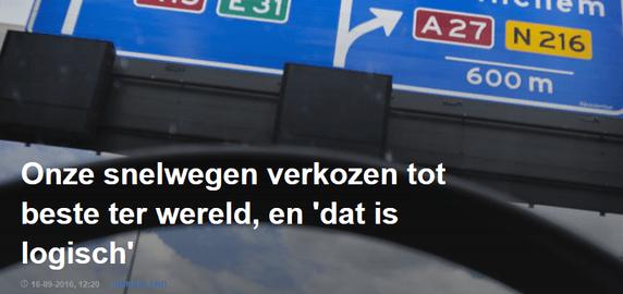 Nederland heeft beste snelwegen ter wereld