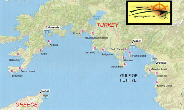 Itineraries   Maps   Destinations   YOUR YACHT EU your yacht eu map marmaris to bodrum