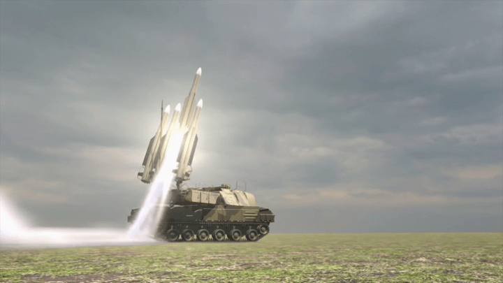 Still from animation Dutch Safety Board (DSB). Buk TELAR launches fatal missile.