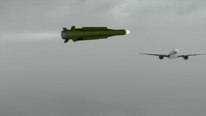 Still from animation Dutch Safety Board (DSB). Buk missile approaches MH17.