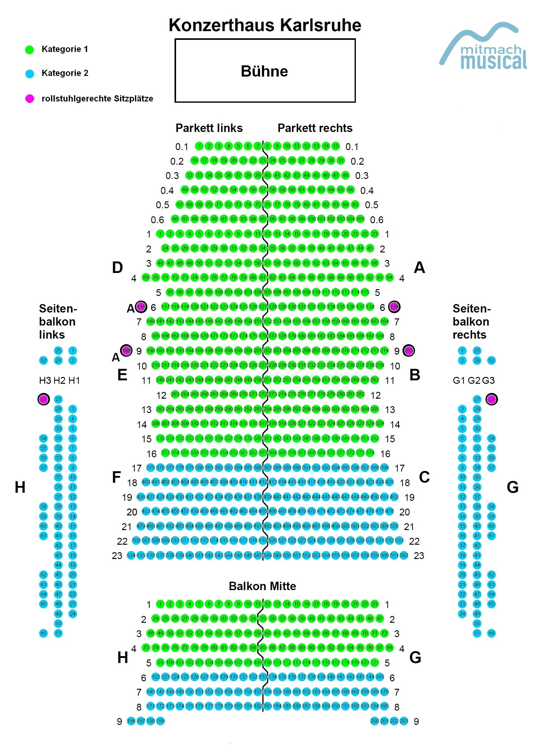 Sitzplan Konzerthaus Karlsruhe MitmachMusical Karlsruhe