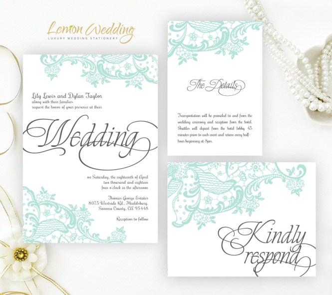 Mint Green Wedding Invitation Kits