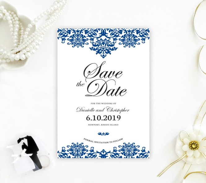 Damask Save The Date Cards