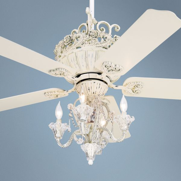 52  Casa Chic Rubbed White Ceiling Fan with 4 Light Kit    12277     52  Casa Chic Rubbed White Ceiling Fan with 4 Light Kit