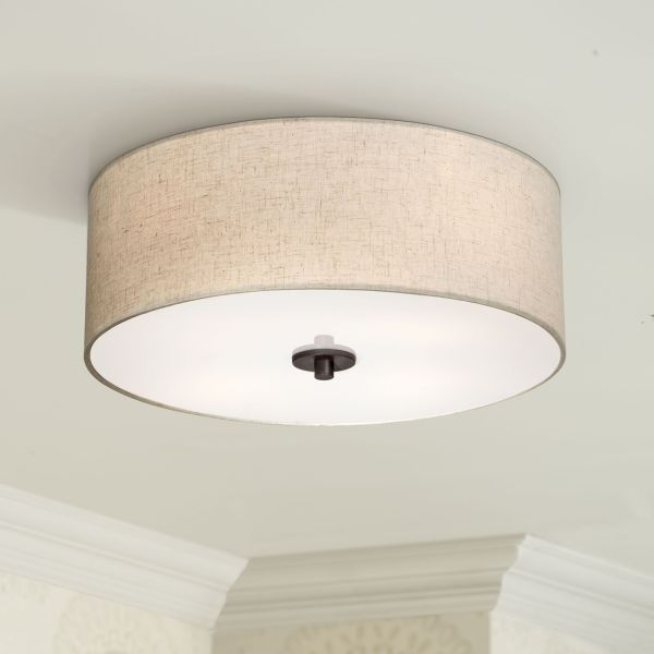Drum  Flush Mount  Close To Ceiling Lights   Lamps Plus Sylvan 18  Wide Oatmeal Drum Ceiling Light