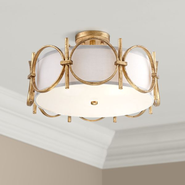 Brass   Antique Brass  Semi Flush Mount  Close To Ceiling Lights     Francis 18 1 4  Wide Gold Drum Ceiling Light