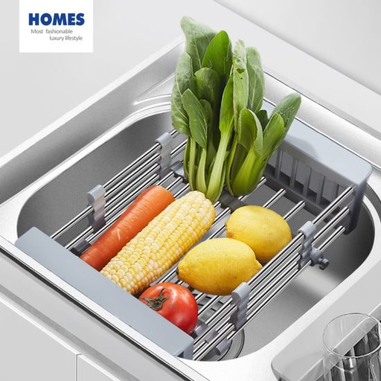 kitchen utensils stainless steel retractable sink drain rack vegetable washing storage basket