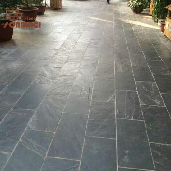 china outdoor black slate floor tiles