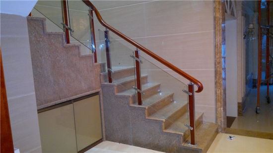 China Modern Stainless Steel Glass Steel Wood Stair Handrail   Staircase Handrails With Wood And Glass   Tempered Glass   Glass Panel   Wooden   Glass Printing   Solid Wood