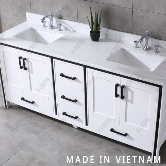 china 72inch white cabinet double sinks