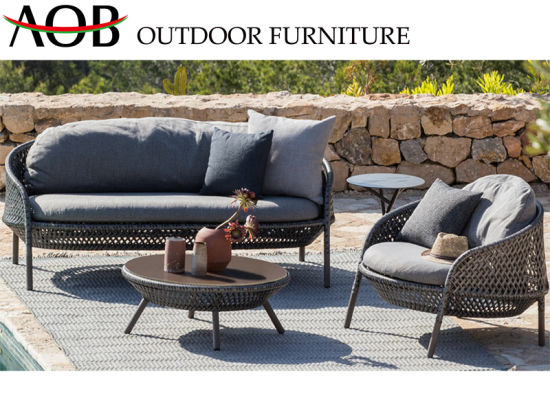 China Contemporary Garden Furniture Sets Aluminum Frame Wicker Woven Lounge Sofa Set China Outdoor Furniture Patio Furniture