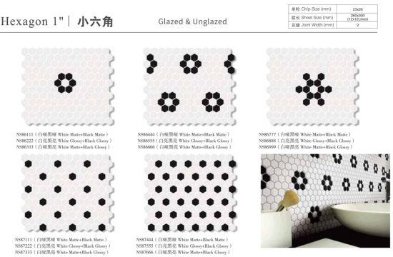 anti slip unglazed kitchen splashback bathroom shower floor hexagon porcelain fullbody mosaic tile