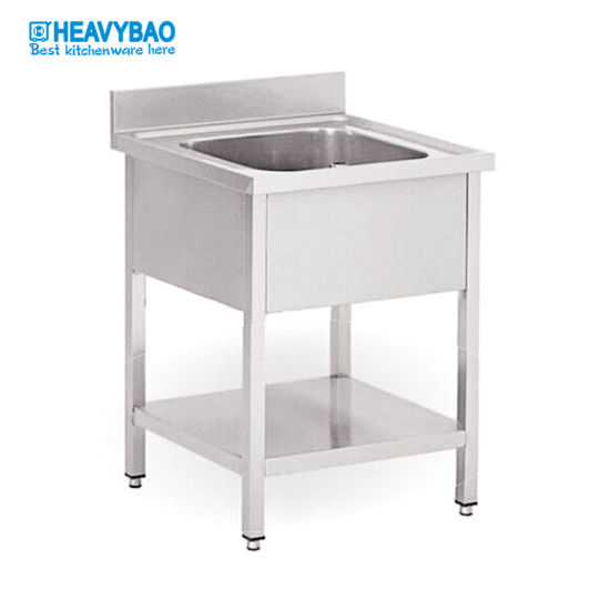 heavybao 180cm length commercial hot selling triple bowl kitchen sink table working table with sink sink table with under shelf