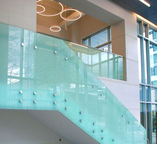 Best Quality Frosted Laminated Glass Stair Railing Design | Steel Stair Railing With Glass | Stair Residential Building | Free Standing | Tempered Glass | Steel Pipe | Floor Mounted Glass