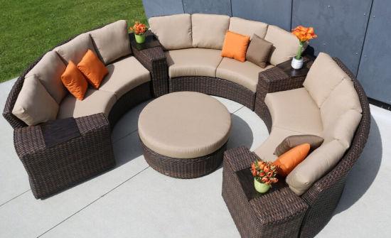patio rattan wicker sofa set round