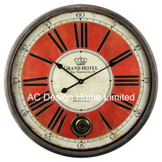 China Classical Red Antique Vintage Round Wooden Wall Decor Clock     Classical Red Antique Vintage Round Wooden Wall Decor Clock