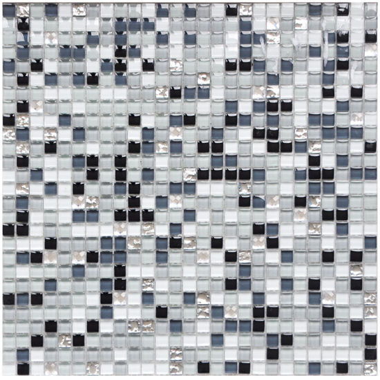 300x300 black grey white mix color crystal glass mosaic wall floor tiles