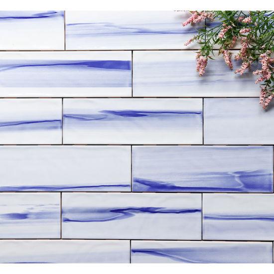 waterproof kitchen backsplash wall 10x30cm 4 x12 glossy rough surface glazed blue subway tiles