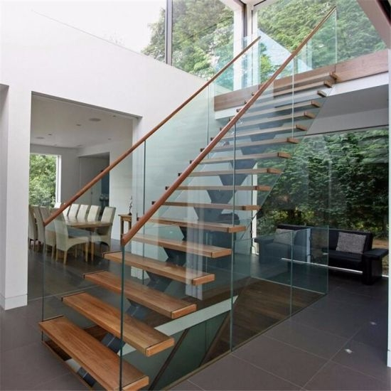 Prefab Steel Wood Straight Staircase With Glass Stair Railing   Wood Stair Railings Interior   Residential   Craftsman Style   2Nd Floor   Paint   Rosette