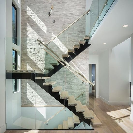 China Open Riser Steel Beam U Shaped Wood Staircase With Glass | Wood Stairs With Tile Risers | Grey | Diy | Design | Mosaic | Stone