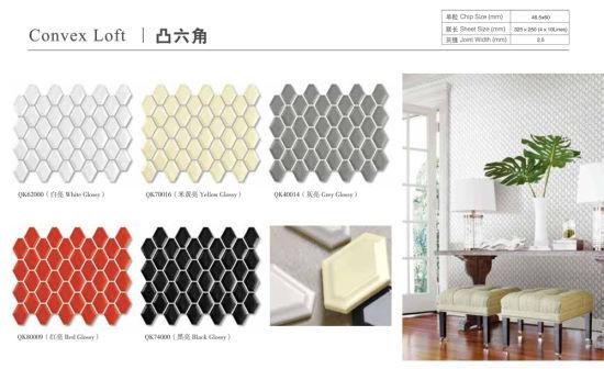 euro antique light grey concave long honeycomb kitchen bathroom backsplash wall ceramic mosaic tile