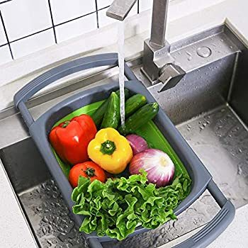 foldable drainer basket collapsible silicone colander over the sink strainer fruits and vegetables cleaning draining basket with retractable handle
