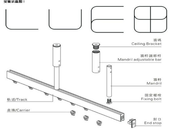 china curved curtain track system for