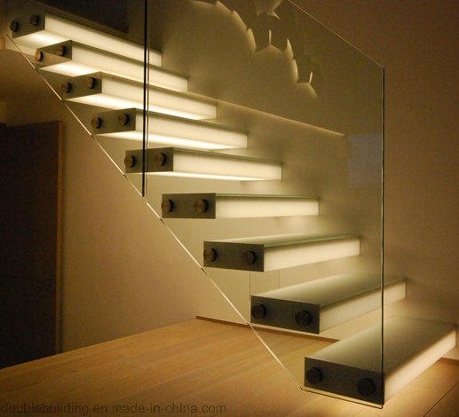 China Modern Led Floating Staircase With Glass Railing Oak | Oak Handrail For Glass | Cottage Style | Glass Railing | Red Oak | Landing | Stair Railing