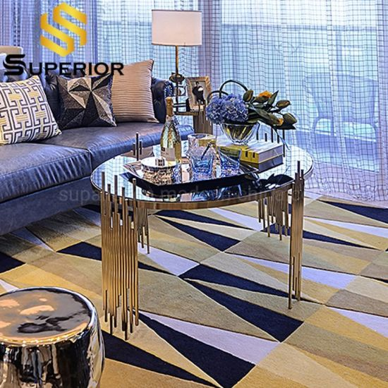 arabic luxury royal stainless steel glass coffee table for sale
