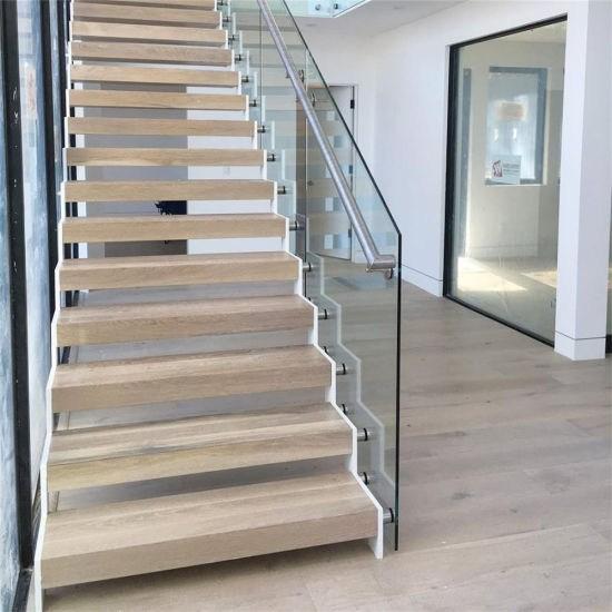 China Natural Prefinished White Oak Wood Tread Staircase China | Prefinished White Oak Stair Treads | Quarter Sawn | Stair Nosing | Hardwood Floors | Handrail | Stair Railing