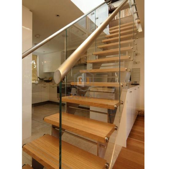 China Metal Straight Staircase Glass Balustrade Fittings Oak Stair   American Oak Stair Treads   Stair Case   Stair Railing   Hardwood Floors   Beech American   Walnut