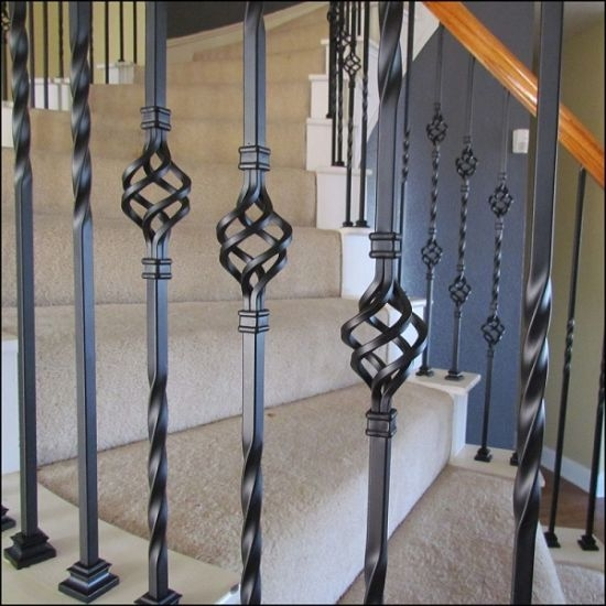 China Hot Sale Decorative Indoor Wrought Iron Balusters Wholesale   Iron Balusters For Sale   Double Basket   Rustic   Square   Indoor   Cast Iron