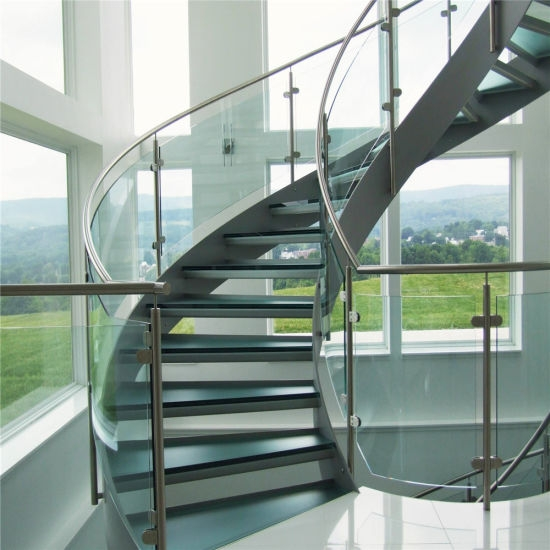 Modern Design Interior Curved Glass Staircase With Tempered Glass | Curved Glass Stair Railing | Residential Glass | Commercial Glass | Band Glass | Walnut | Frameless Glass