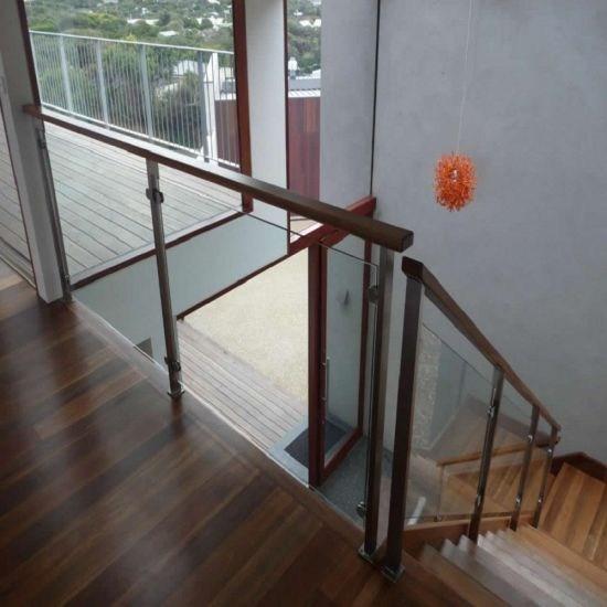 China Modern Handrail Design Indoor Stainless Steel Railing Glass | Modern Black Metal Stair Railing | Balcony | Really Thin | Outdoor | Metal Mesh | Dark Wood
