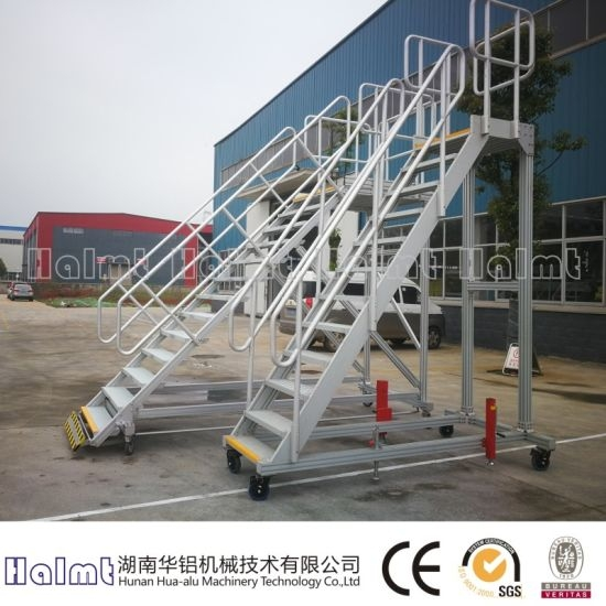 China Aluminum Industrial Portable Stairs And Railing | Portable Stairs With Railing