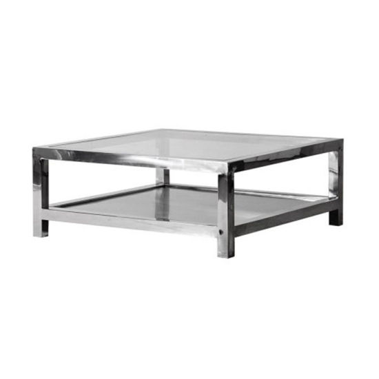 modern steel clear glass top square