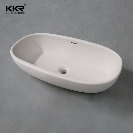 light grey solid surface above counter modern vessel sink with overflow