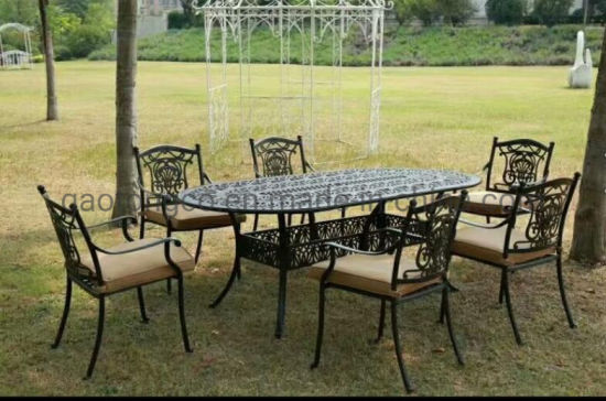 oval garden dining table cast aluminium