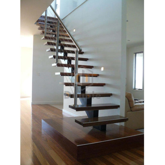 China Stainless Steel Cable Railing Wood Tread Metal Stringer | Metal Stairs With Wood Treads | Straight Steel | Single Steel Stringer | I Beam | Metal Railing | Timber