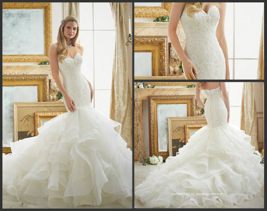 China Lace Puffy Bridal Gown Strapless Tiered Mermaid