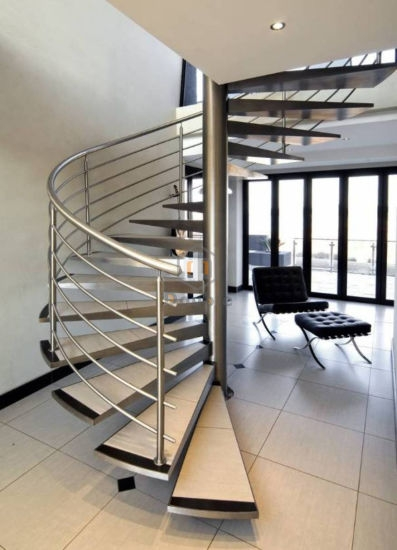 Modern Indoor Design Spiral Staircase With Stainless Steel Stair | Stainless Steel For Stairs | Contemporary | Modern | Outdoor | Home | Balustrade