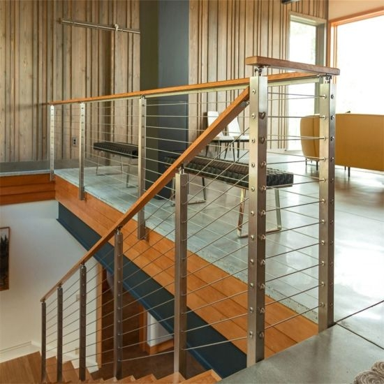 Modern Stainless Steel Cable Stair Railing Wire Railing For | Cable Stair Railing Indoor | Exterior Irregular Stair | Vertical | Wood | 90 Degree Stair | Stainless