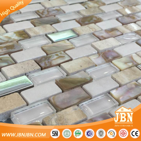 white brick shell mosaic mother of pearl groutless kitchen backspalsh wall tile m853001